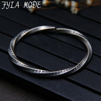 FYLA MODE Real Solid 999Sterling Silver Retro Twist Open Bangle For Men Vintage Mobius Heart Sutra Carving Opening Bracelets