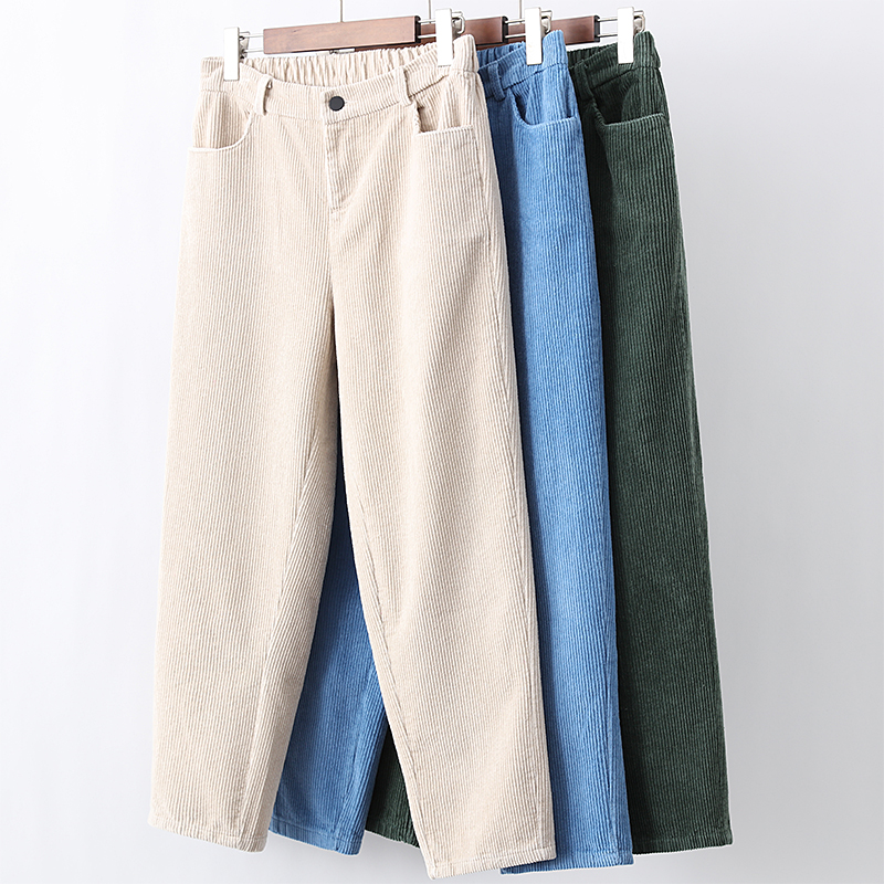 High Waist Women's Pants New Loose harem pants Women Autumn Winter Corduroy Cropped Trousers Casual Ankle-Length Pants