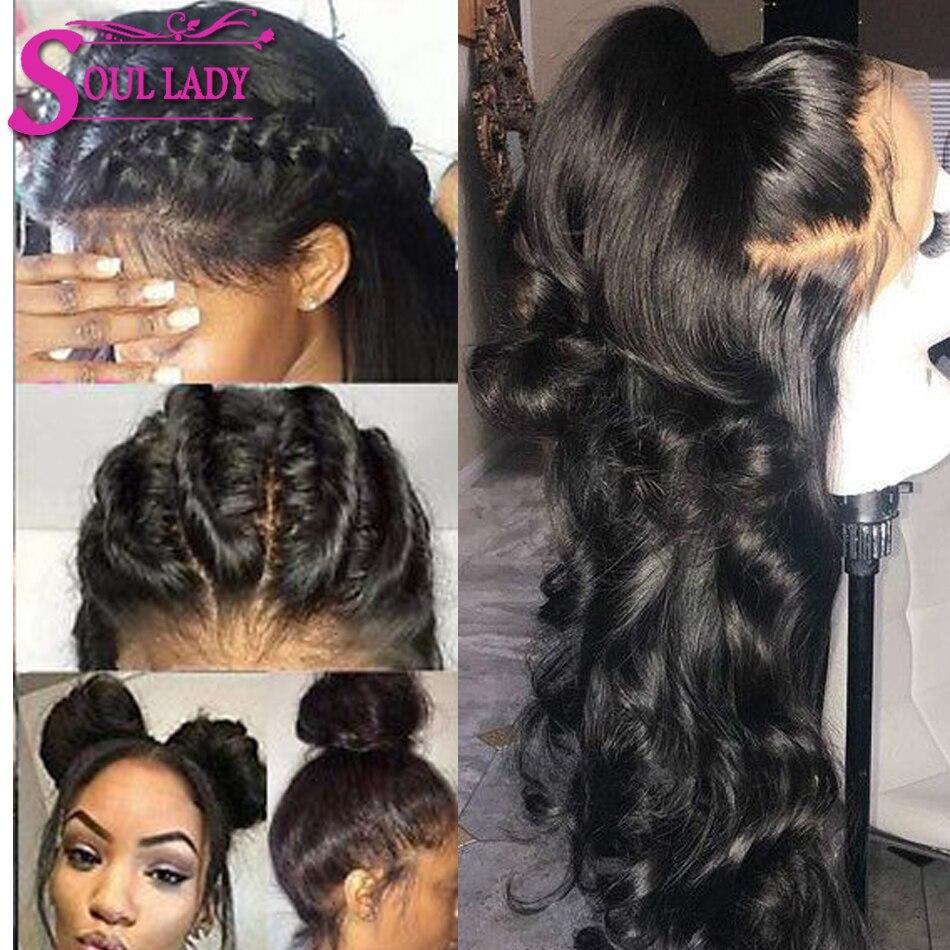 Soul Lady Кружевные передние человеческие волосы парики перуанские объемные волнистые кружевные передние парики предварительно выщипанные с ... - 4