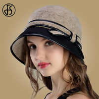 FS Wool Fedora Wide Brim Autumn Winter Women Hat Elegant Casual Bow Ladies Church Hats Cloche Warm Floppy Female Caps