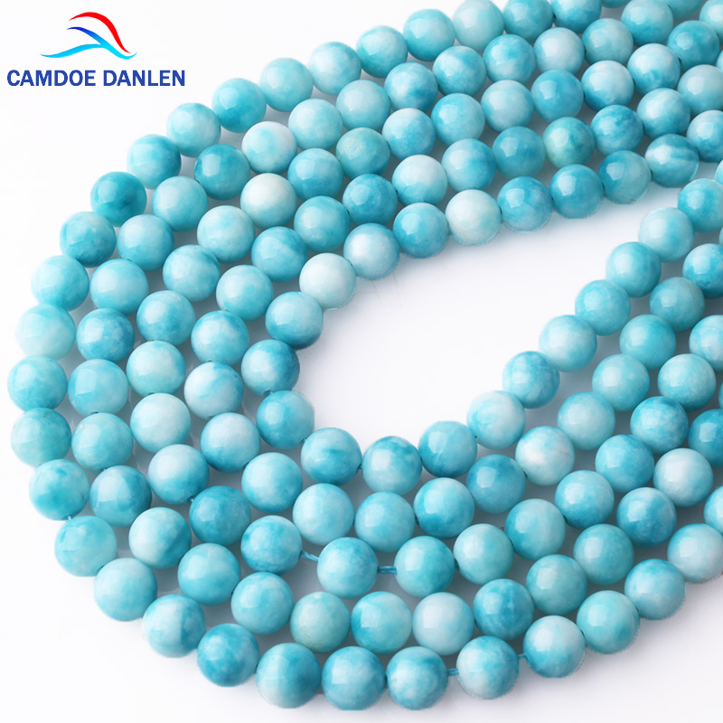CAMDOE DANLEN Natural Gem Beads Larimar Stone Round Loose beads 6 8 10 12MM Fit Diy charms bracelet necklace for jewelry Making 8mm 6 12 color including buddha skull beads elastic string beads set round natural stone beads for jewelry making bracelet diy