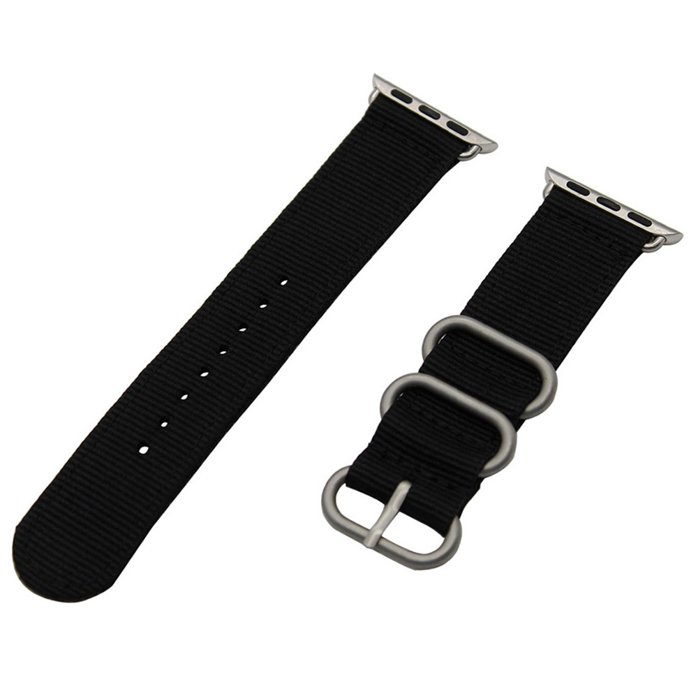 Nylon Watchband + Adapters for iWatch Apple Watch 38mm 42mm Zulu Band Fabric Strap Wrist Belt Bracelet Black Blue Brown Green
