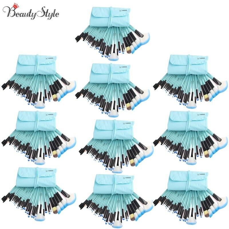 (Wholesale) Blue 10 Sets / 32pcs Vander Makeup Brushes Foundation Powder Pinceaux Maquillage Cosmetics Makeup Brush + Pouch Bag