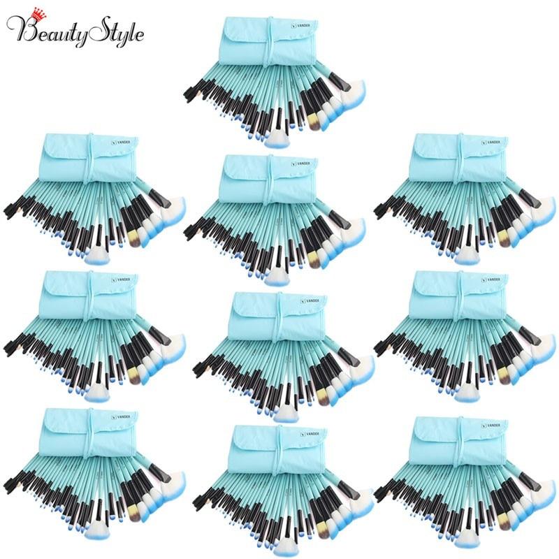 (Wholesale) Blue 8 Sets / 32pcs Vander Makeup Brushes Foundation Powder Pinceaux Maquillage Cosmetics Makeup Brush + Pouch Bag vander 10sets lot 32pcs wholesale makeup