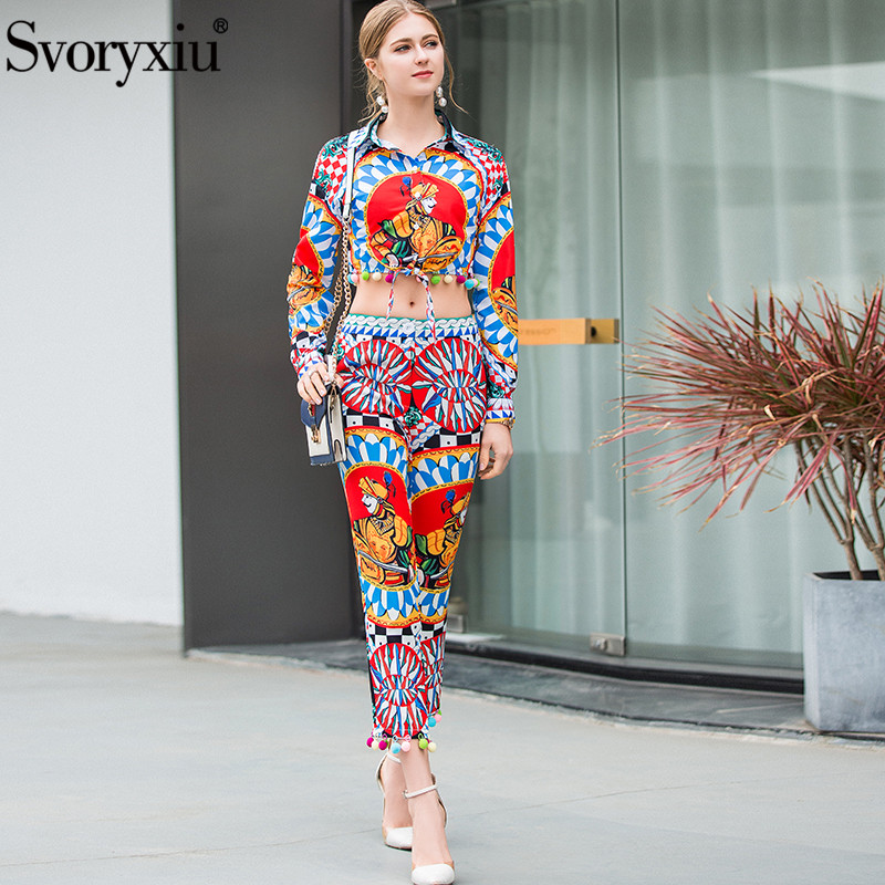 Svoryxiu Fashion Runway Summer Pants Two Piece Set Women s Long Sleeve Colours Hairball Blouse Pants