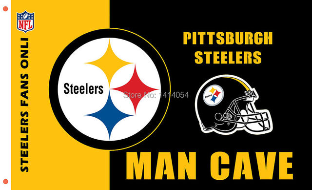 Pittsburgh Steelers Logo Man Cave NEW Flag 150X90CM Banner 100D Polyester Brass Grommets 001