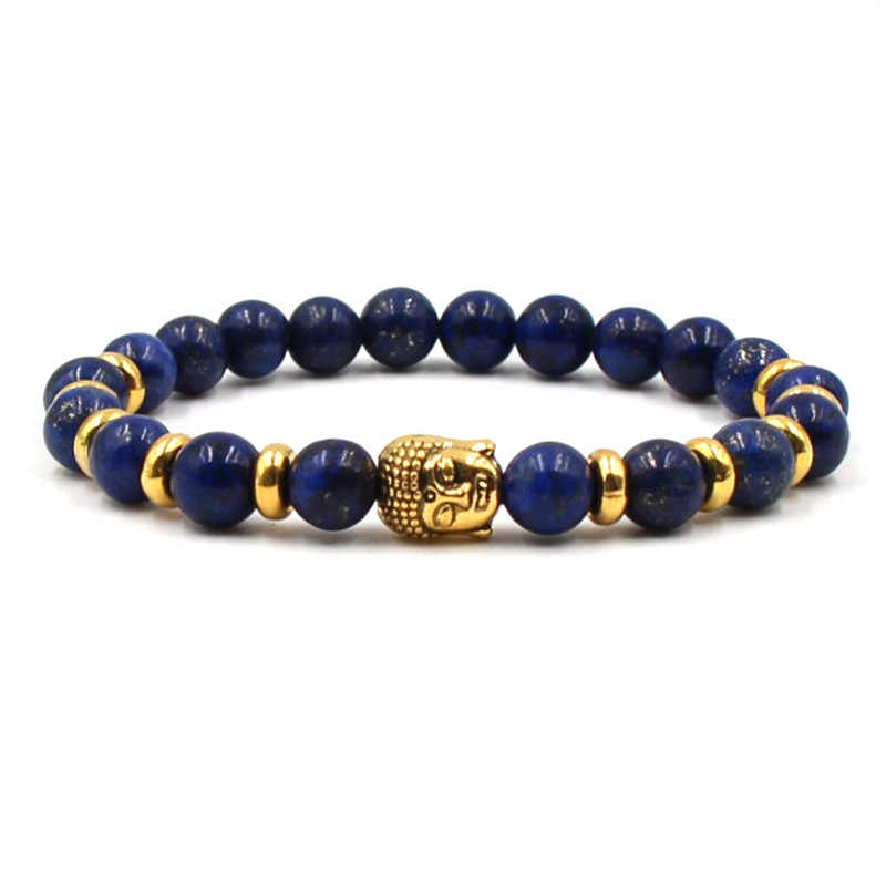 New Fashion Woman Bracelets 2019 Lapis Lazuli Gold Lion Head Natural Stone Bracelets Women&Men Jewelry Accessories Dropshipping