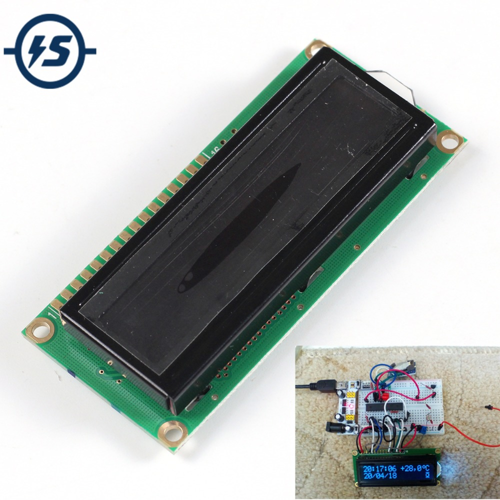 LCD Display Module LCD1602A 16x2 White Screen Character Dot Matrix 1602 Blacklight Black Background Parallel Port
