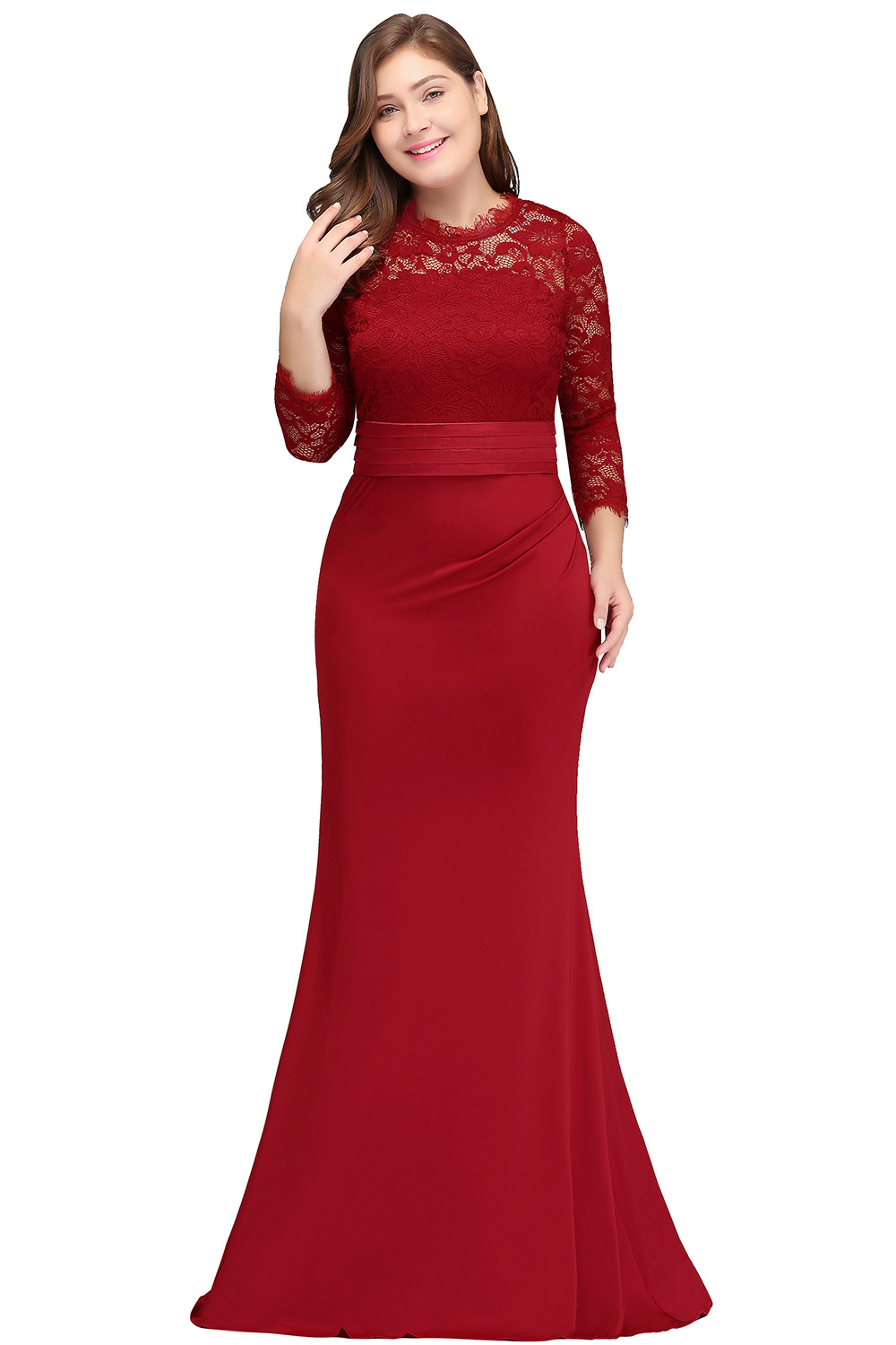2019 Navy Plus Size Long Mother Of The Bride Dresses Mermaid Scoop Neck 3/4 Sleeve Wedding Party Gown
