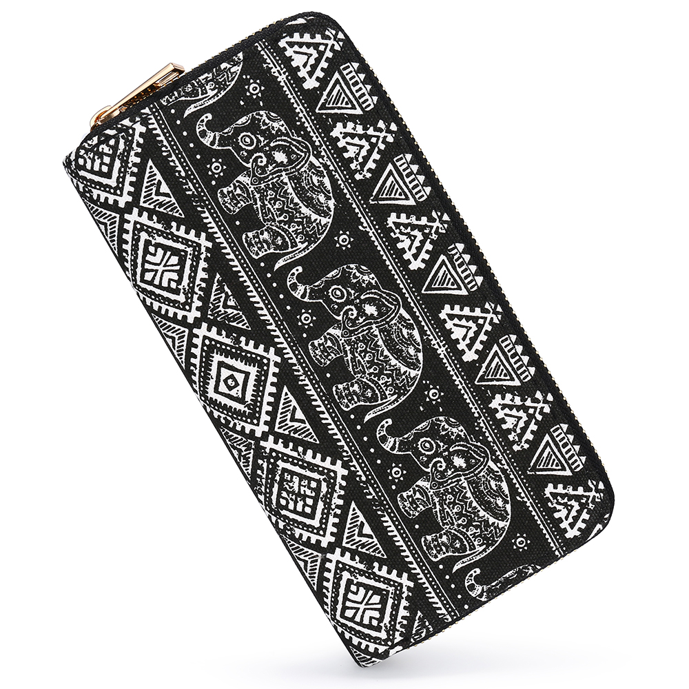 SANSARYA Boho Elephant Wallets Women Hippie Long Zip Ladies Canvas Female Clutch Wallet Vintage Card Holder
