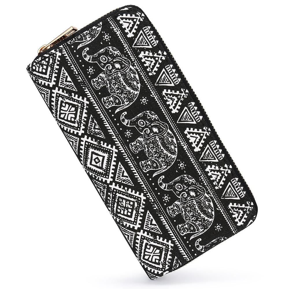 SANSARYA Boho Elephant billeteras mujeres Hippie Long Zip señoras lienzo mujer embrague cartera Vintage Tarjetero con Cupreous Zipper