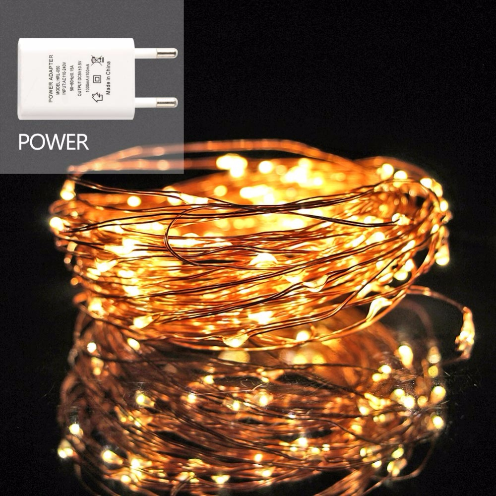 AXESHINE Waterproof Copper LED String Light 10M 100Led Multicolor RGB USB Power Operated Fairy Light Christmas Home Party Decor