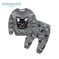 Kidsweety Girls Sets Cotton Cartoon Pattern Pullover Kid Hoodie Pants Child Suits Casual T Shirt Trousers
