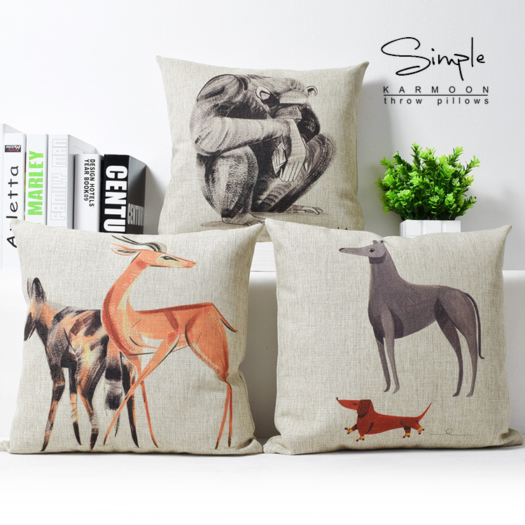 drawing animals orangutan deer dog pillow cartoon pillow cushion linen home