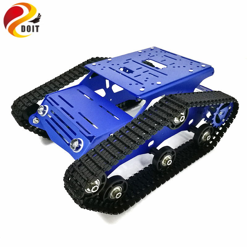 Tracked Robot Chassis YP100 with Aluminum Alloy Frame 12V 320RPM High Power Motor Plastic Tracks for Robot Project DesignTracked Robot Chassis YP100 with Aluminum Alloy Frame 12V 320RPM High Power Motor Plastic Tracks for Robot Project Design
