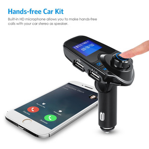 Image 2 - Car Bluetooth Wireless Mp3 Player Handsfree Car Kit FM Transmitter 5V 2.1A USB Charger LCD Display Car FM Modulator