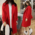 UK 2017 Women Winter Oversized Woolen Tweed Coat Nibbuns Black Red Female Loose X-long Overcoat Thick Warm Casacos feminino