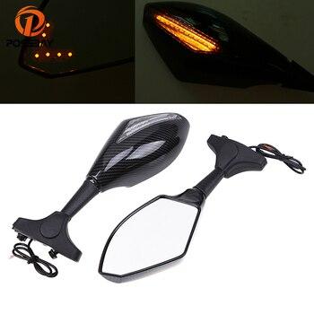 POSSBAY Universal Motorcycle Mirrors Black Rearview Rear View Mirror for Harley Suzuki Yamaha R1 Cafe Racer Moto Espejo