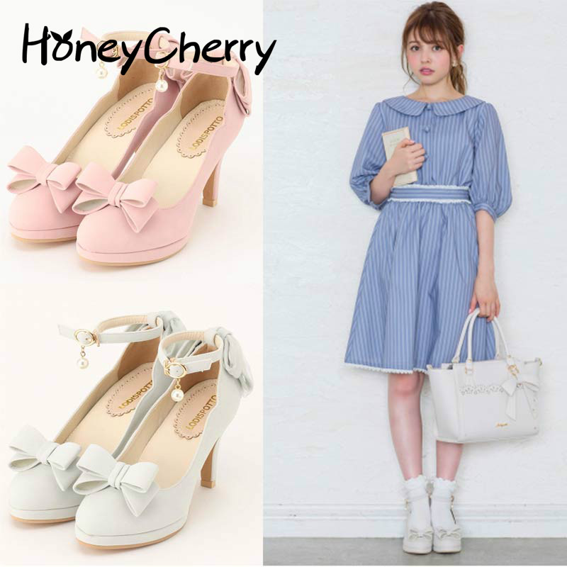 Japanese new high heels female round shallow mouth Lolita shoes bow lolita shoes daily wind soft sister shoes, Women Shoes стиральная машина hansa hansa whp 6120 d4w белый