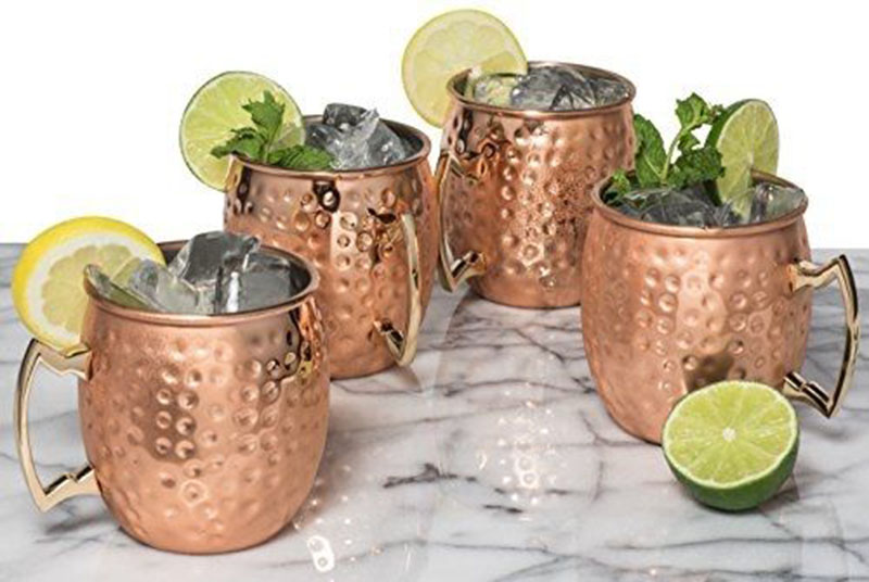 4PCS Free Shipping 550ml 18 Ounces Hammered Copper Plated Moscow Mule Mug Beer Cup Coffee Cup