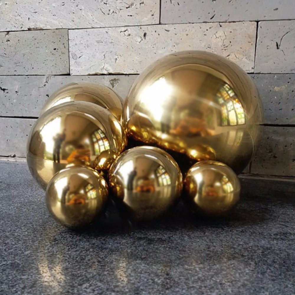 New Coming Stainless Steel Titanium Gold Sliver Hollow Ball Seamless Home&Garden Decoration Mirror Ball Sphere Party Decoration