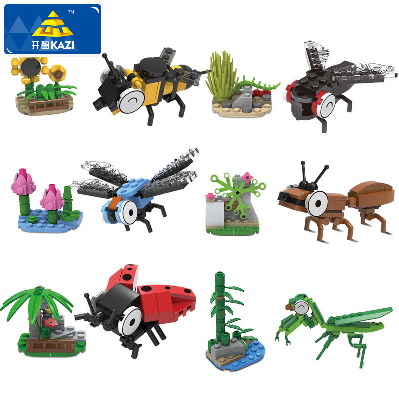 KAZI Animal Series Building Blocks Ladybug Dragonfly Mantis Bee Model Building Blocks 367+pcs Blocks Playmobil Toys For Children