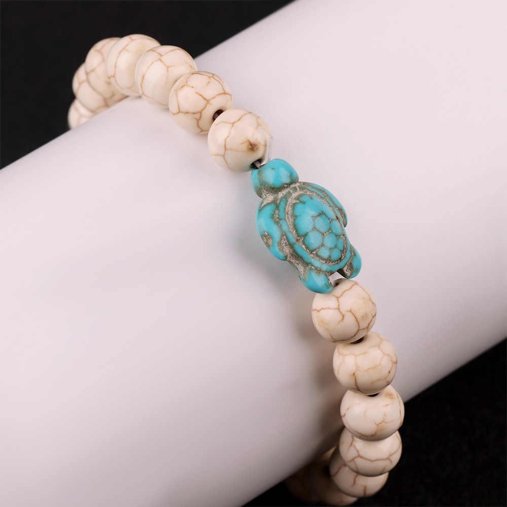 1 sztuk naturalny kamień bransoletka z paciorkami elastyczne żółw bransoletka dla kobiet mężczyzn modna biżuteria na prezent średnica kulki: 8mm