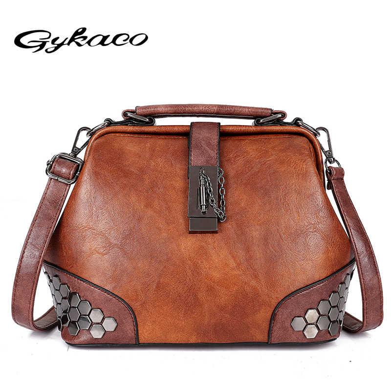 986927f875 Gykaeo New 2018 Summer Fashion Style Rivet Doctor Tote Bag Luxury Handbags  Women Bags Designer Anti