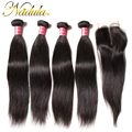 4 Bundles Straight Hair With Closure Indian Straight Virgin Hair With Closure 100% Virgin Human Hair Weave Closure Indian Hair