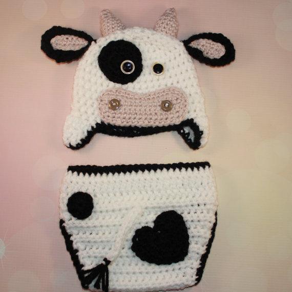 Bebé Vaca Conjunto de Crochet Vaca Conjunto Bebé Sombrero de Cow ...