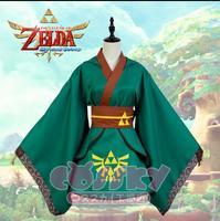 [Stock] Hot Anime The Legend of Zelda Shadow Link Cosplay Costumes Green Kimono Uniform Dress XS XXL For Female Free Shipping