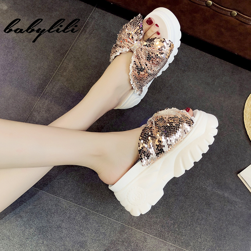2019 Summer <font><b>Women</b></font> <font><b>Slippers</b></font> <font><b>Sexy</b></font> Sequined Open Toe Platform <font><b>Shoes</b></font> <font><b>Woman</b></font> Beach <font><b>Shoes</b></font> Ladies Outdoor Super <font><b>High</b></font> <font><b>Heel</b></font> <font><b>Slippers</b></font> image