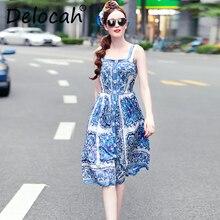 Delocah Fashion Runway Women Summer Dress Spaghetti Strap Casual Blue and white Printed 5XL Plus plus vestidos