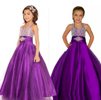 New Ball Gown Girls Pageant Dresses Halter Puffy Tulle Satin Little Girls Party Dresses Pageant Dresses