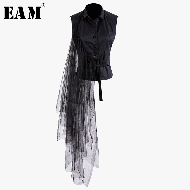 [EAM] 2020 New Spring Summer Lapel Sleeveless Black Irregular Bandage Mesh Stitch Loose Shirt Women Blouse Fashion Tide JT870