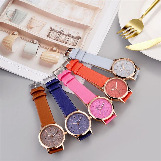 Top Brand High Quality Fashion Womens Ladies Simple Watches Geneva Faux Leather Analog Quartz Wrist Watch clock saat Gift 4