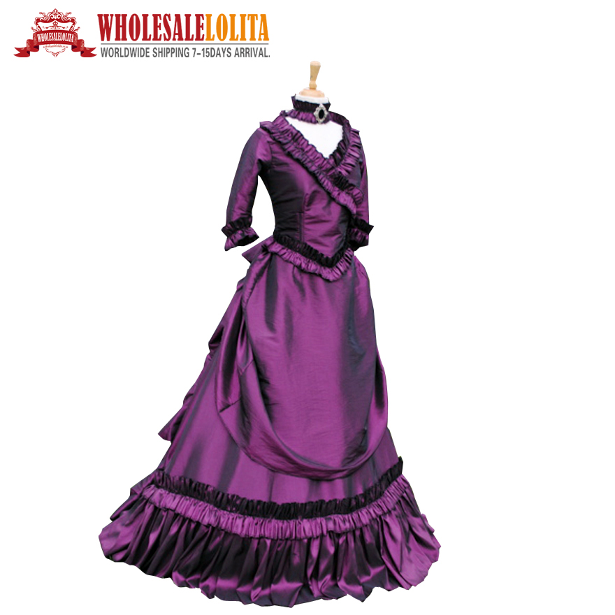 19 century Vintage costume Victorian Gothic Lolita/Civil War Southern Belle Ball Halloween dresses Sz US 6-26