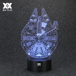 حرب النجوم مصباح الألفية الصقر ثلاثية الأبعاد مصباح LED الجدة أضواء ليلية USB عطلة ضوء متوهجة هدية الكريسماس العلامة التجارية هوى يوان