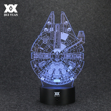 цена  Star Wars Lamp Millennium Falcon 3D Lamp LED Novelty Night Lights USB Holiday Light Glowing Christmas Gift HUI YUAN Brand
