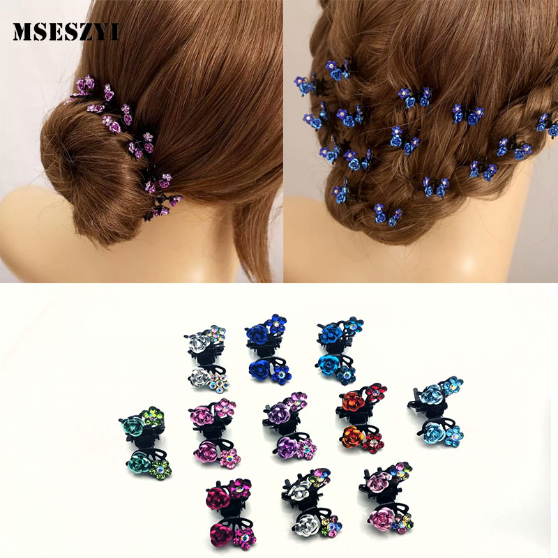 Fashion 6PCS/Lot Small Cute Crystal Flowers Metal Hair Claws Hair Clip Girls Fashion Headdress Hair Oranment Hair Accessories