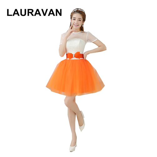 beautiful bridemaids tulle cute modest short sleeved orange ivory   bridesmaid     dresses   party   dress   for teen girls 8 ball gown