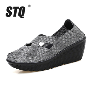 Image 2 - STQ 2020 Autumn Women Platform Shoes Women Slip On Casual Hand Made Woven Shoes Wedge Sandals Shoes Women Footwear Shoes 833