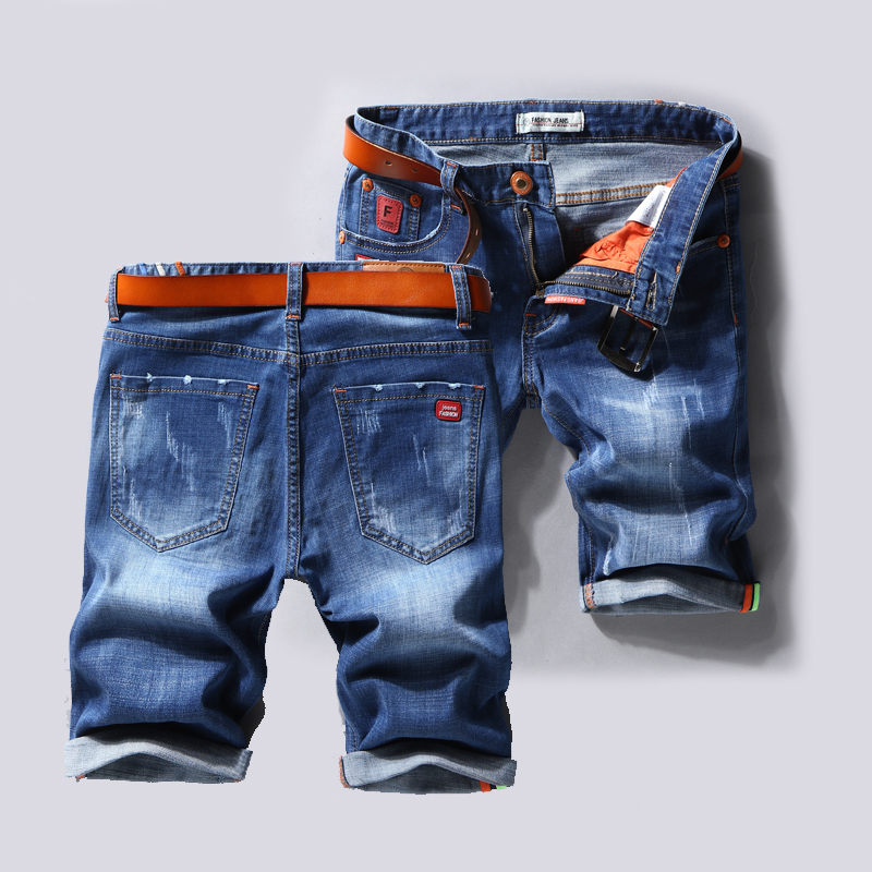 Denim Shorts Jeans Light-Blue Male Large-Size Casual Summer New Hole Size-40 No-Belt