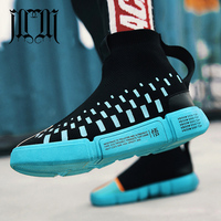 MumuEli 2018 New Blue Black High Top Quality Shoes Men Breathable Casual Designer Fashion Luxury Boots Flat Male Sneakers D3533
