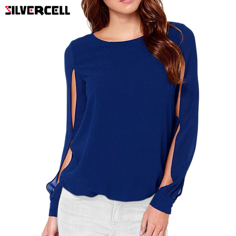 SILVERCELL Elegant Long Sleeve O Neck Solid Chiffon Blouse for Women Summer Casual Loose Blouse Tops Plus Size 6XL