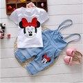 Baby Girls Minnie Short Sleeve Summer Clothing Sets White Cartoon Minnie T Shirts+Denim Cotton Overall Jumpsuit Summer Clothes