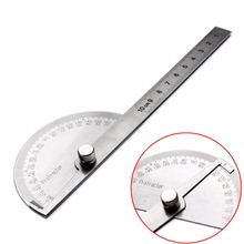 1pc 180 Degree Adjustable Protractor Angle Finder Angle Ruler Round Head Rotary Stainless Steel Measuring Tool for Woodworking