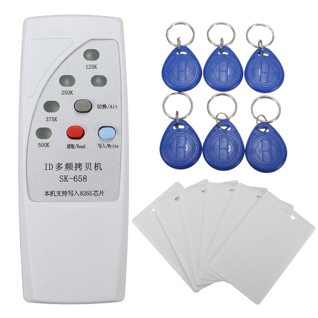 13 יחידות כף יד 125 khz RFID זיהוי מעתיק מעתק מתכנת + 6 יחידות כרטיסי + 6 יחידות תגים