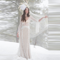 Vestidos De Novia Lace Boho Wedding Dresses 2019 Long Sleeves Beach Bride Dress Princess Wedding Gown Robe De Mariee