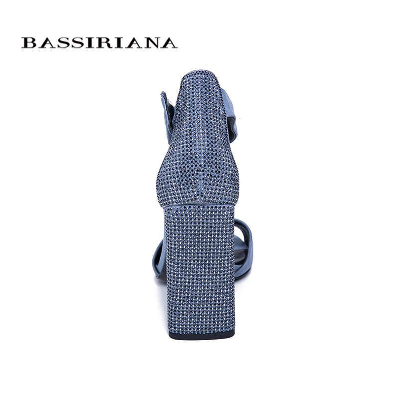 BASSIRIANA 2019 yeni bayanlar hakiki deri süet ayakkabı kadın yaz sandalet kare yüksek topuklu ayak bileği kayışı Drill35-40 boyutu